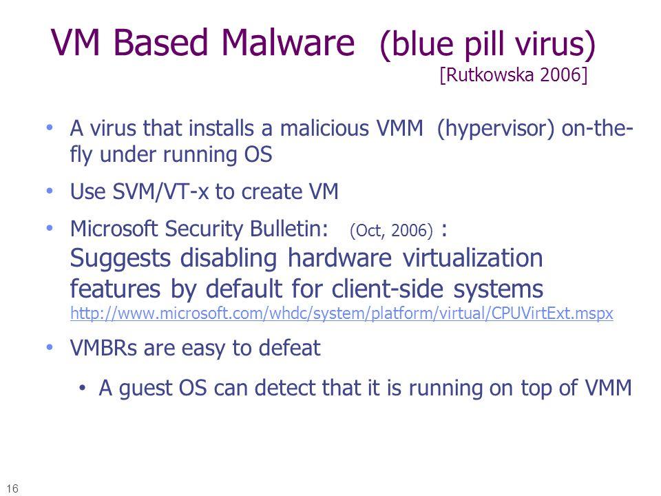 VM Based Malware (blue pill virus) [Rutkowska 2006]
